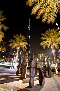 Dubai. View from the Downtown Pavillion. Statues, Burj Khalifa, The Address