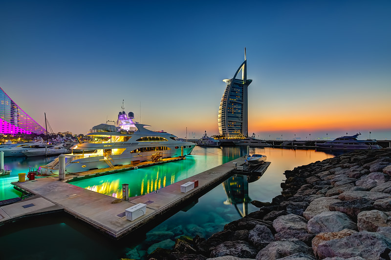 Yachts at the Marina. Burj Al Arab and Jumeirah Beach Hotel.