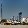 Dubai. Burj Khalifa and Business Bay as seen from Kite Beach.