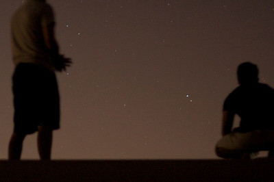 Viewing stars atop desert ridge