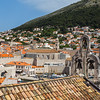 Overlooking the bells on a church towards the old town of Dubrovnik