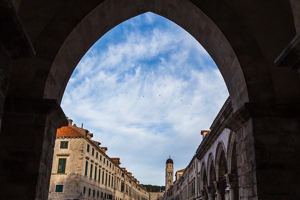 The Stradun through an archway