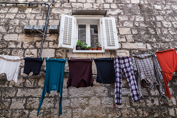 Colourful clothing out to dry