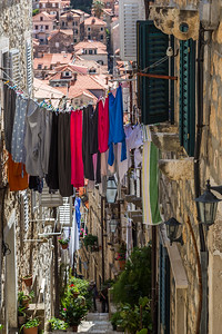 Colourful laundry hung out to dry