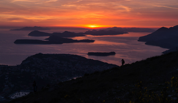 Sunset over the Elaphiti islands