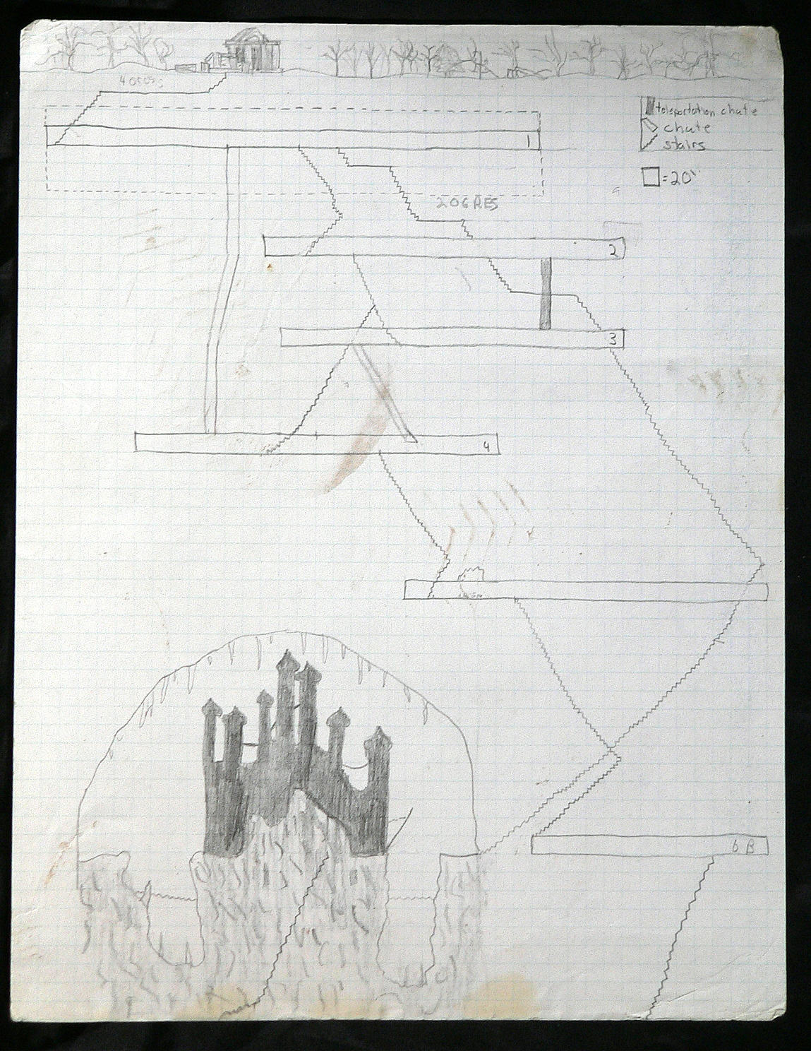 Side view of one of the many dungeons I created.