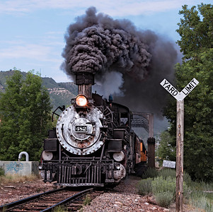 The Durango & Silverton Narrow Gauge Railroad train steams out of Durango
