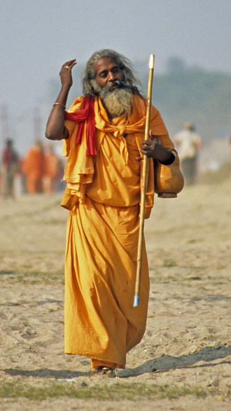 The body is a wisp of consciousness taking shape in the world. It is not a local event dreaming of a larger world, but a world dreaming of local events; a roost that thoughts fly in and out of. —Deepak Chopra, <i> Way of the Wizard </i> <i>L1324 sadhu, Allahabad </i>