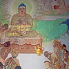 You'd better pay attention to what I am saying, or when it comes time for the five elements to separate, you'll be like a crab in a pot, scrabbling with all eight arms and legs to get out. —Master Mumon <i>L1676 Mulagandhakuti Vihara murals, Dhamek Stupa site, Sarnath </i>