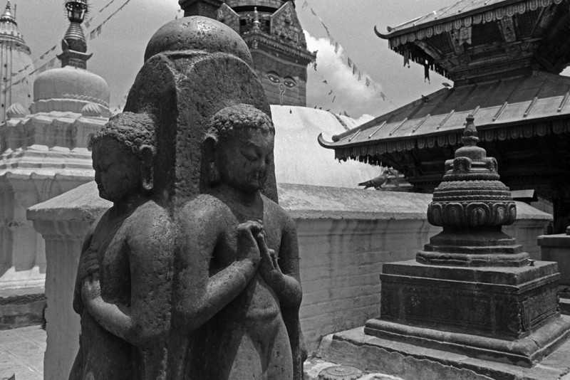 If you believe things exist, you're dumb as an ox; but if you say nothing exists, you're dumber—practically hopeless. —Nagarjuna  <i> L2307 Swayamboudnath, Kathmandu </i>