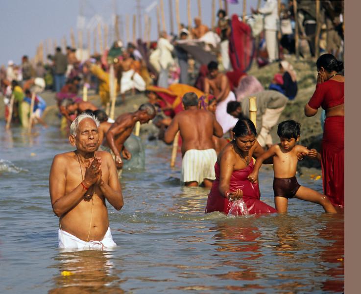 Hear my prayer, O Lord To my cry give ear; To my weeping be not deaf. For I am but a wayfarer before you,  A pilgrim like all my fathers.  —<i> Psalm 40:13 </i> <i> L1844 pilgrims, Maha Kumbha Mela, Allahabad </i>