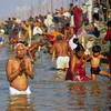 Hear my prayer, O Lord To my cry give ear; To my weeping be not deaf. For I am but a wayfarer before you,  A pilgrim like all my fathers.  —<i> Psalm 40:13 </i> <i> L1844 pilgrims, Maha Kumbha Mela, Allahabad </i>