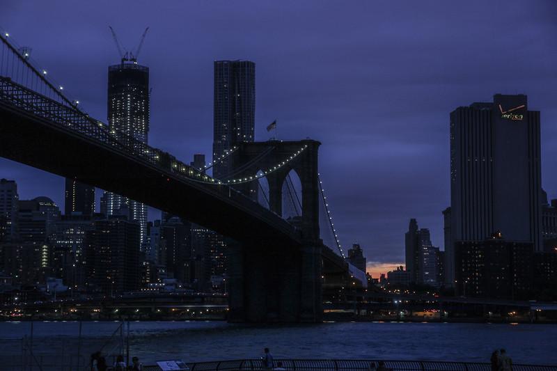 Manhattan Bridge, New York City at dusk