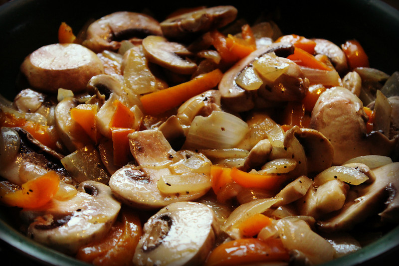 Peppers, mushrooms, and onions!