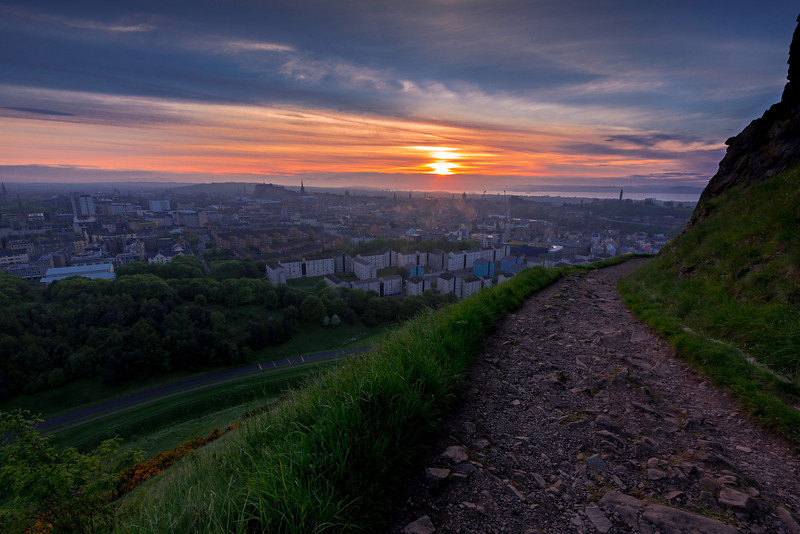 Sunset From Arthur's Seat Overlooking Edinburgh