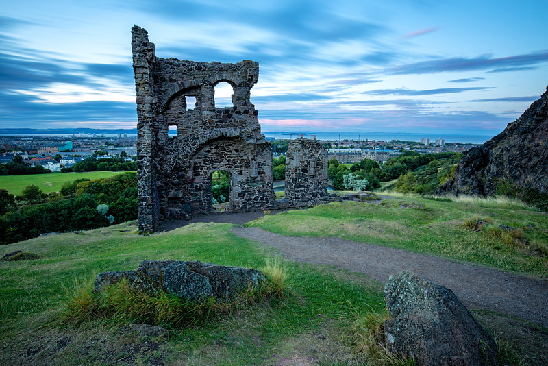 St Anthony's Chapel Overlooking Edinburgh at Sunset