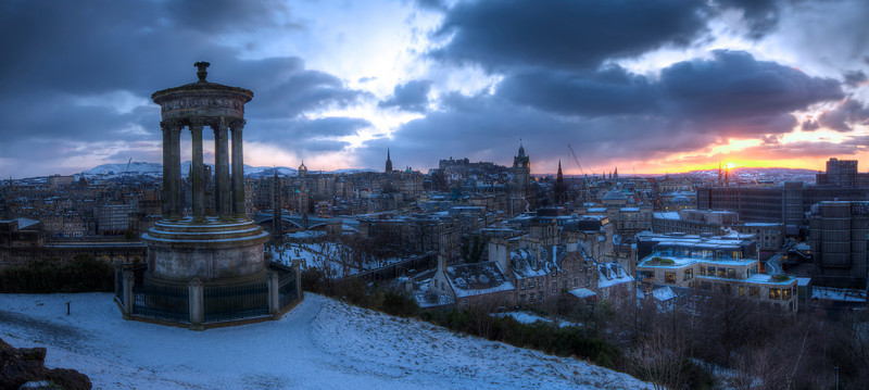 Winter Sunset Over Edinburgh