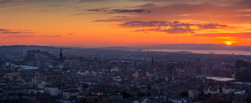 "Panoramic View Overlooking Edinburgh at Sunset  Follow me on: <a href=""https://www.facebook.com/PhilipCormackPhotography"" rel=""nofollow"">Facebook</a> 