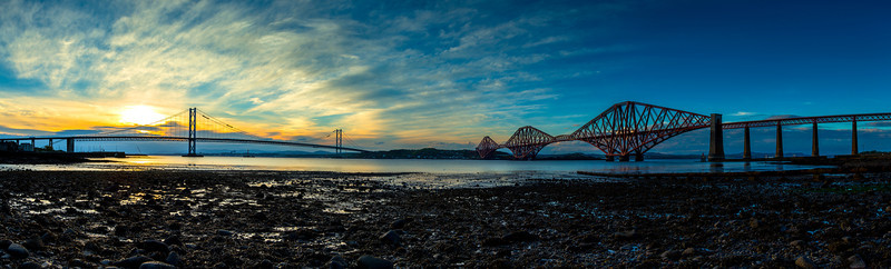 "Panoramic View of the Forth Road and Rail Bridge at Sunset.  Follow me on: <a href=""https://www.facebook.com/PhilipCormackPhotography"" rel=""nofollow"">Facebook</a> 