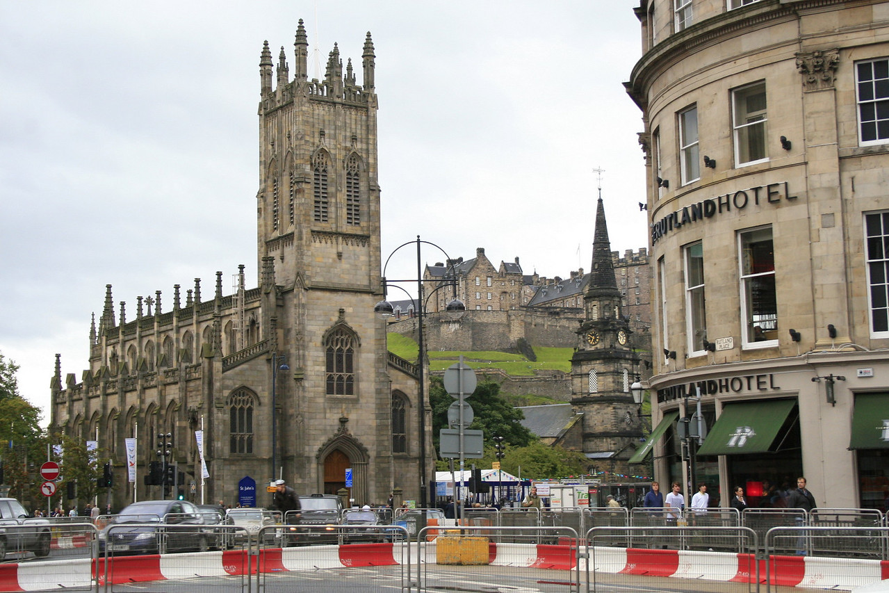 At a busy intersection where West Princes Street meets Lothian Road, construction for the tram is underway.