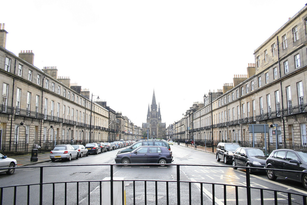 In New Town, an area in Northern Edinburgh, here is a distant view of the Scottish National Gallery of Modern Art.