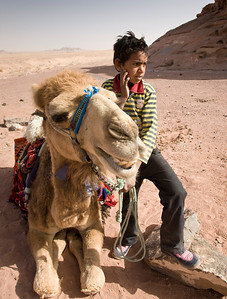 A boy and his camel, road from Eilat to Jerusalem, Israel