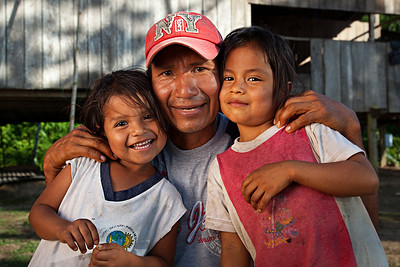 Portrait of happy faces in jungles of Ecuador