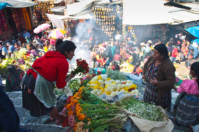 Flowers in the Marketplace, Chichicastenango, Guatemala