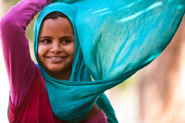 Turquoise Hijab and beautiful Smile, Bedouin Community, Sinai, Egypt