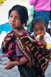 Young girl and her brother. Antigua, Guatemala