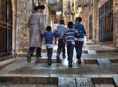 Jewish Teacher and His Students, Streets of Old City Jerusalem