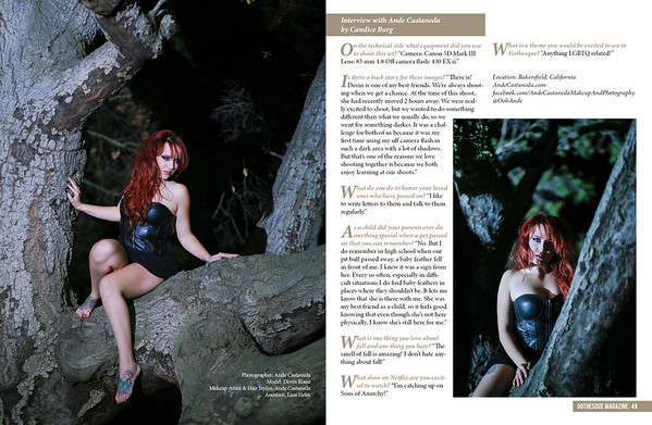 Published in Gothesque Magazine Model: Devin Riane Hair, Makeup & Photography: Ande Castaneda Assistant: Lani Helm