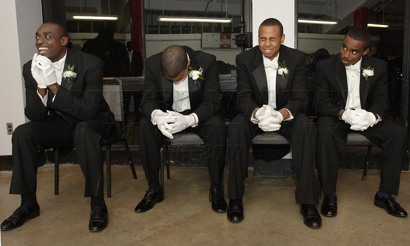 Marshals eagerly await their moment before the start of the Alpha Kappa Alpha Debutante ball held at the Dorton Arena in Raleigh; Nov. 2007.
