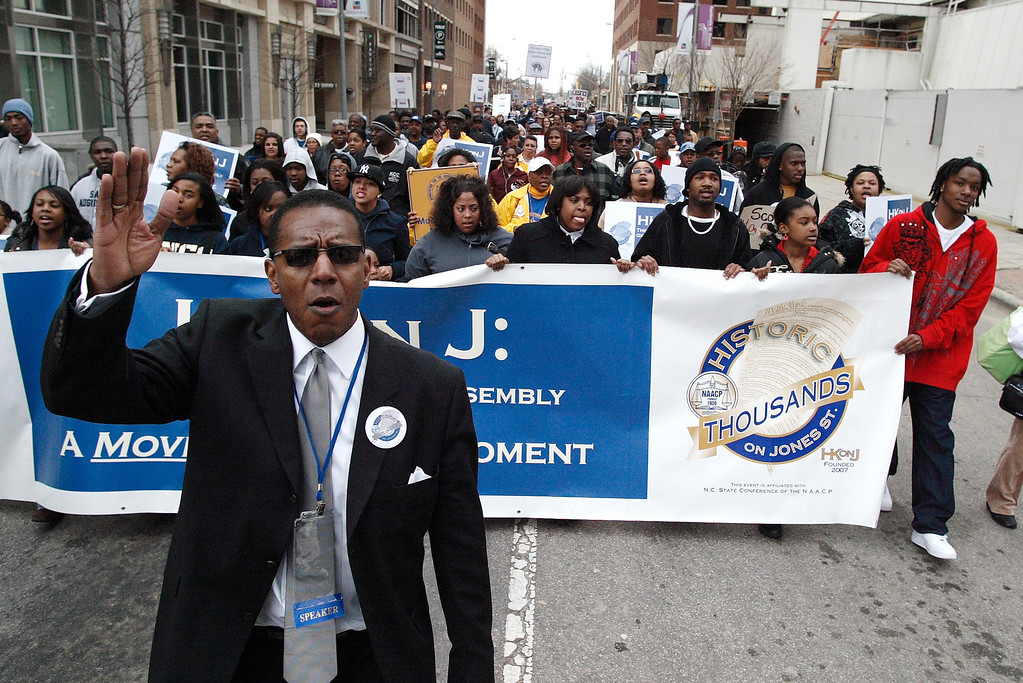 NC NAACP VP Curtis Gatewood leads marchers as they headed towards the Old State Capitol during the Historic Thousands on Jones Street March. 2-11-2009