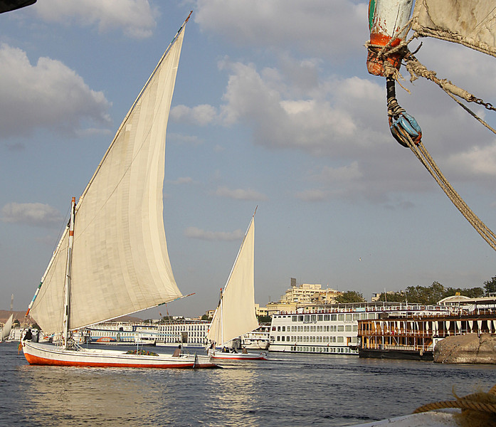 View of felucca boats and riverboats in Luxor.