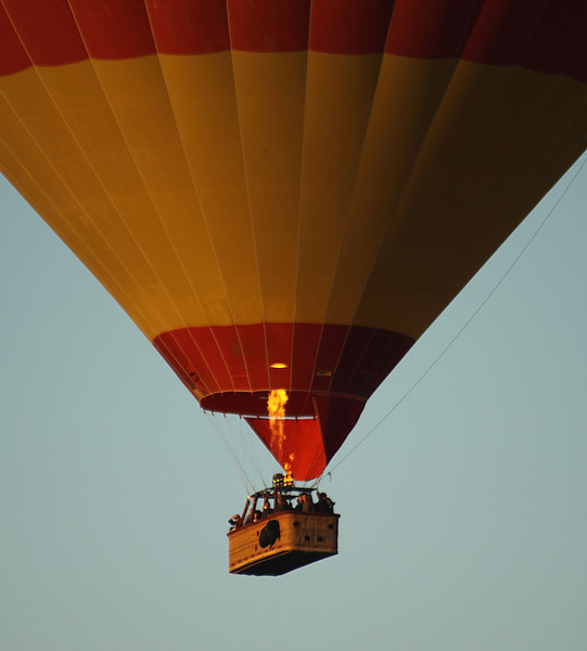 Tourists in hot air balloon