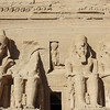 Ramses II...In center is falcon headed Ra Harakhti..<br /> who is worshipped by Ramses.