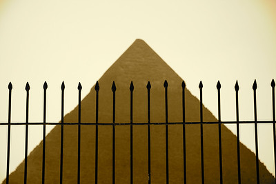 Fence with Pyramid of Khafre - Giza