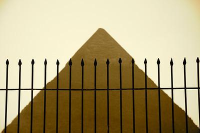 Fence with Pyramid of Khafre - Giza