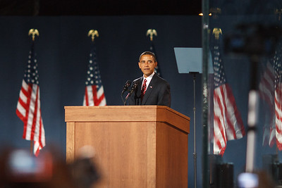 President-Elect Barack Obama prepares to speak to the masses.
