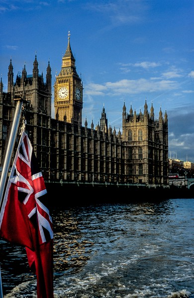 The Palace of Westminster and Big Ben viewed from the Thames, London.<br />  Photo © Carl Clark