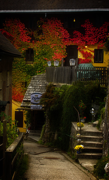 A charming back street in Hallstatt, Austria.<br /> Photo © Cindy Clark