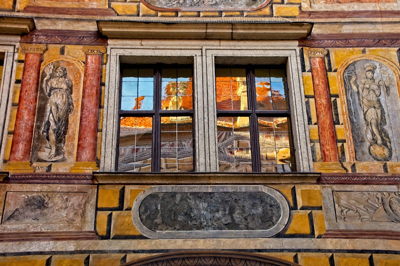 Facade and reflection at the State Castle in Český Krumlov in the Czech Republic.<br /> Photo © Carl Clark