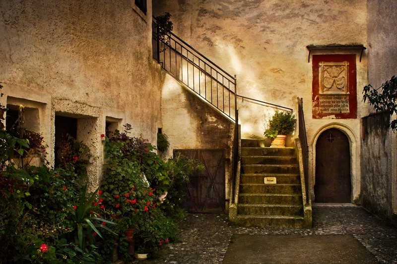 Staircase in the Hohensalzburg fortress in Salzburg.<br /> Photo © Cindy Clark