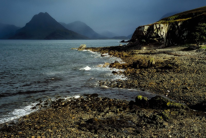 The misty Cullin mountains viewed from Elgol on the Isle of Skye, Scotland. <br /> Photo © Carl Clark