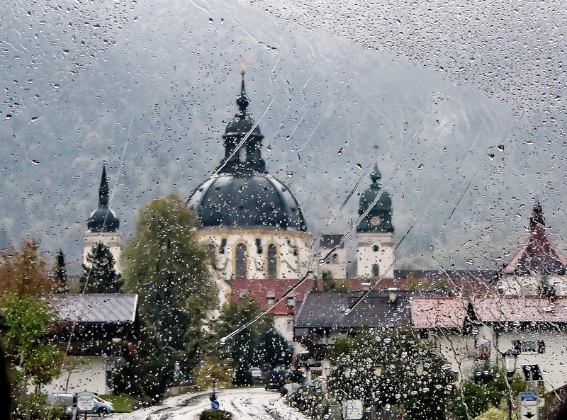 Taken from the bus on a rainy day as we approached Ettal Abbey. This is a Benedcitine monastery in Bavaria, Germany. Founded in 1330.<br />  Photo © Cindy Clark