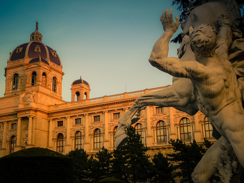 One of the two horse tamers statues at the Imperial Forum in Vienna.<br /> Photo © Cindy Clark
