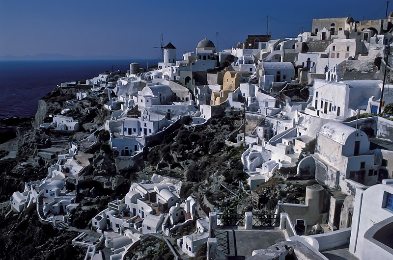 Classic architecture in the town of Fira on Santorini in the Cyclades Islands, Greece. <br /> Photo © Carl Clark
