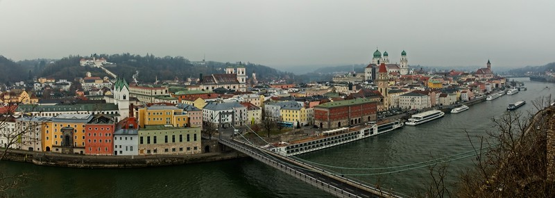 Passau viewed from across the Danube at the fortress (Veste Oberhaus).<br /> Photo © Carl Clark