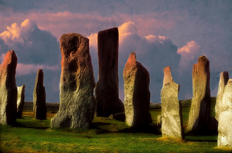Detail from the Standing Stone of Callanish, Scotland.  These stones were erected in the late Neolithic era and were a focus for ritual activity in the Bronze Age.  The stone circle was set up between 2900-2600 BC.<br /> Photo © Cindy Clark